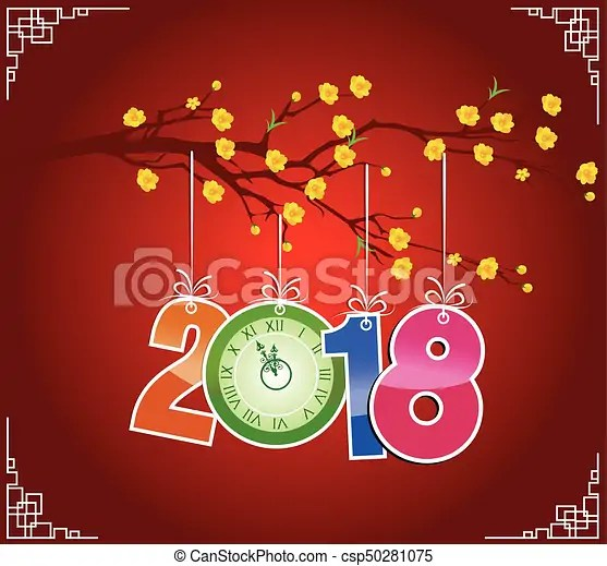 Happy new year 2018 brush celebration chinese new year of vectors