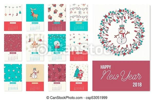 Happy new year 2018 cute xmas calendar template Happy new year 2018 - holiday calendar template