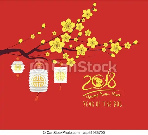 Happy new year 2018 greeting card and chinese new year of vector