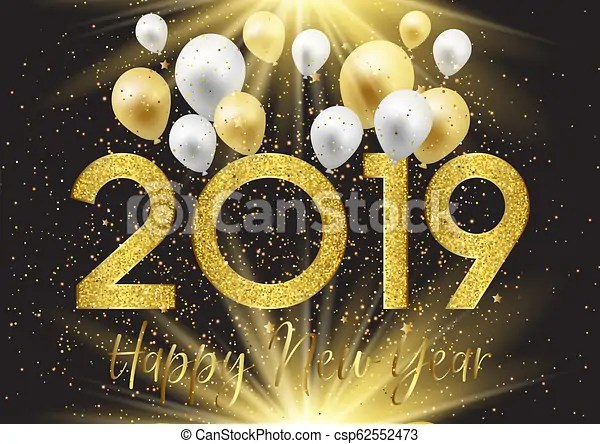Happy new year background with balloons and glitter 2109 Happy new