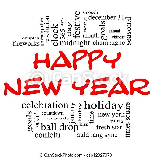 Happy new year word cloud concept An illustration around the words