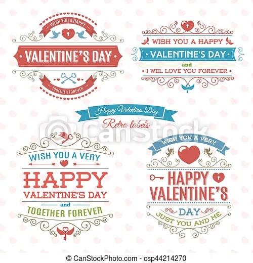Happy valentine\u0027s day label set on heart\u0027s background vintage style