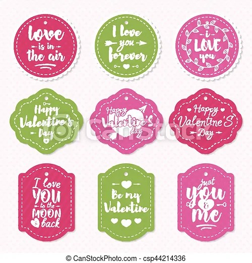 Happy valentine\u0027s day label set with lovely congratulations