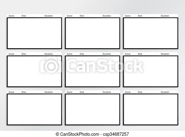 Hdtv storyboard template 9 frame Professional of film stock