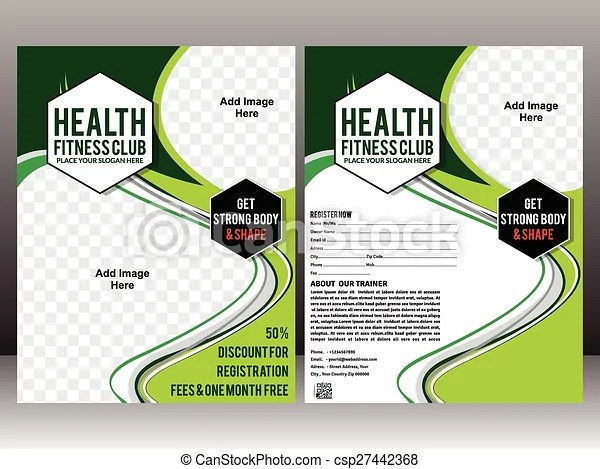 Health fitness flyer brochure  magazine cover design clip art - Fitness Brochure