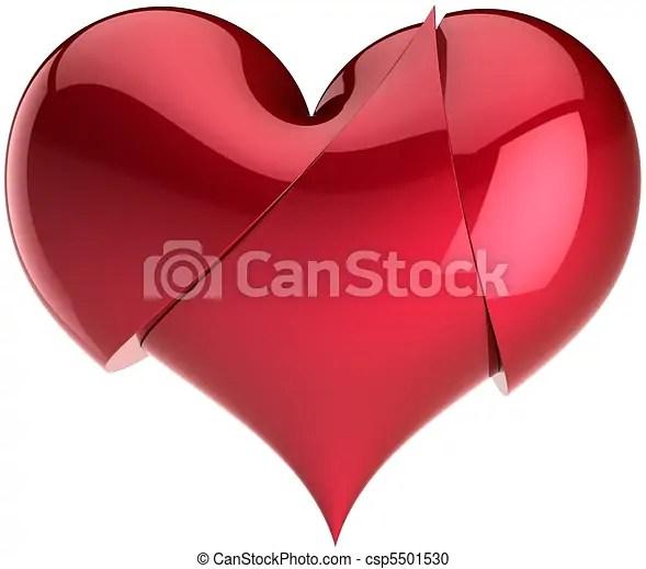 Heart broken up for three parts Heart broken up for three red