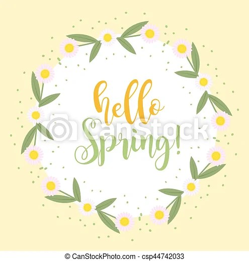 Hello spring floral frame for text, isolated on white background