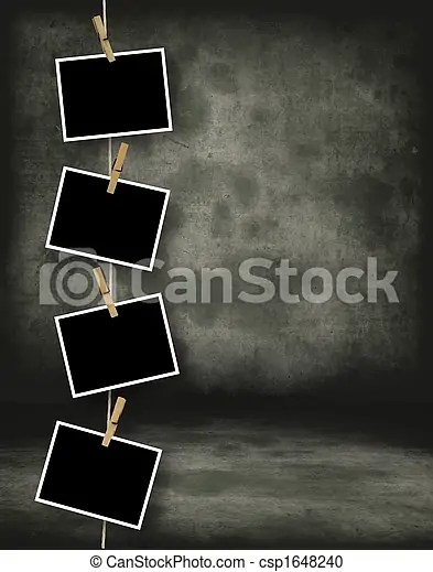 Historical photo template Old polaroid film blanks hanging stock