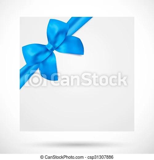 Holiday gift card big blue bow, ribbon Holiday card, christmas