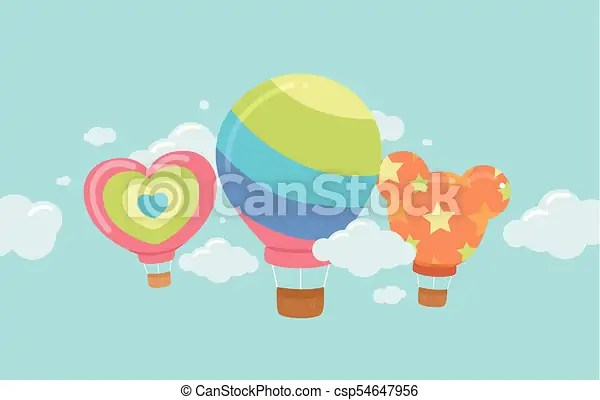 Hot air balloon float skies illustration Illustration of cute hot
