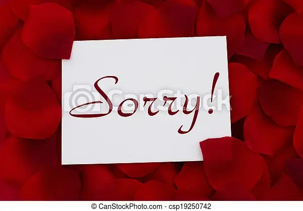 I am sorry card, a white card with text sorry! and a red stock - apology card messages