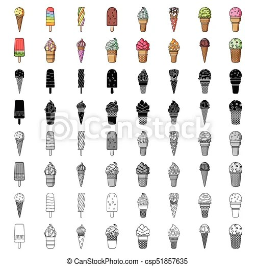 Ice cream set icons in cartoon style big collection of ice