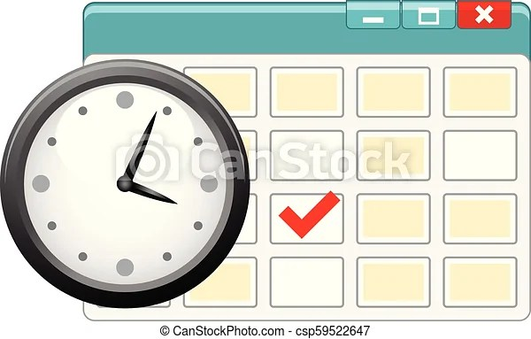 Icon of personal organizer with clock and calendar