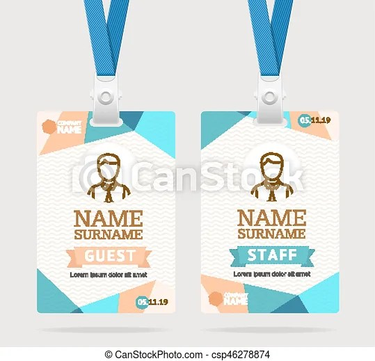Id card template plastic badge vector Id card template vectors