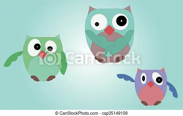 Illustrated set of owls on blue gradient background with various