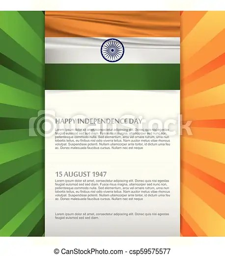 India independence day card with creative design and typography vector
