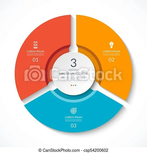 Infographic circle process chart vector diagram with 3 options