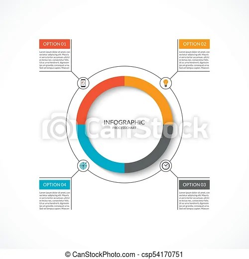Infographic cycle diagram process chart with 4 options vector