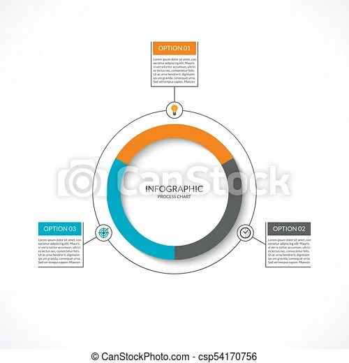 Infographic cycle diagram process chart with 3 options vector