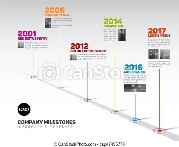 Infographic timeline template with pointers and photos Vector