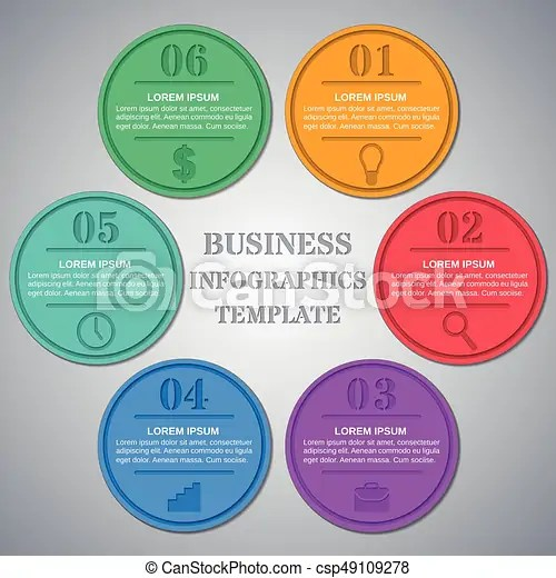 Infographics templates 6 option, parts, steps Infographic circle