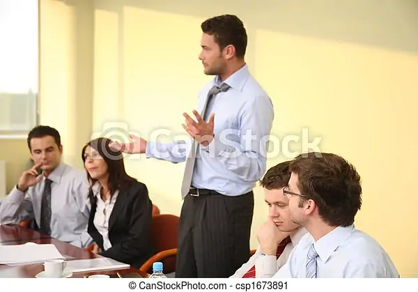 Informal business meeting - man boss speech stock photography