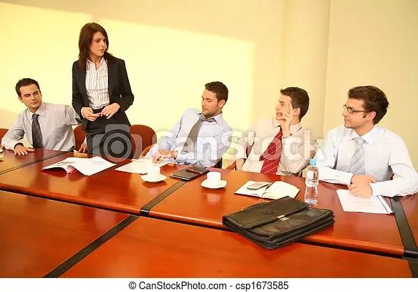 Informal business meeting - woman boss speech Informal stock