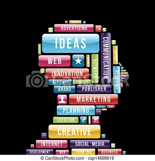 Internet creative ideas profile Creative ideas man head composition