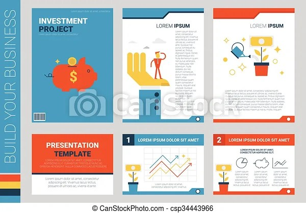 Investment project book cover and presentation template with flat