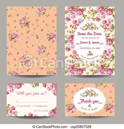 Invitation/congratulation card set - for wedding, baby shower - in