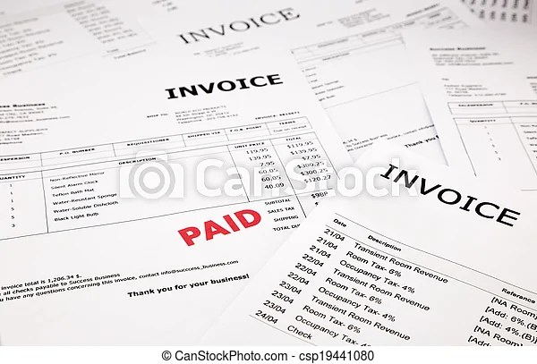 Invoices and bills with paid stamp  Difference invoices and bills