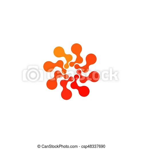 Isolated abstract round shape orange color logo, dotted stylized sun