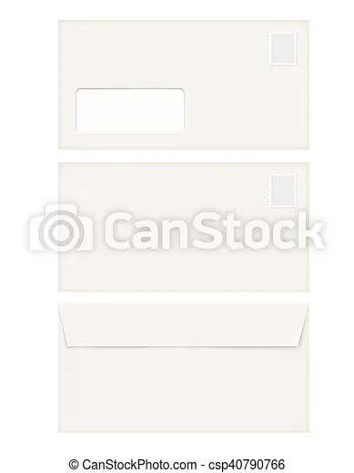 Isolated empty window envelope template with stamp Isolated empty