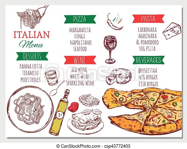 Italian restaurant menu Italian restaurant menu with traditional - italian menu