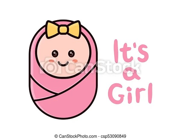 It\u0027s a girl card baby shower greeting card with hand drawn eps - baby congratulation card