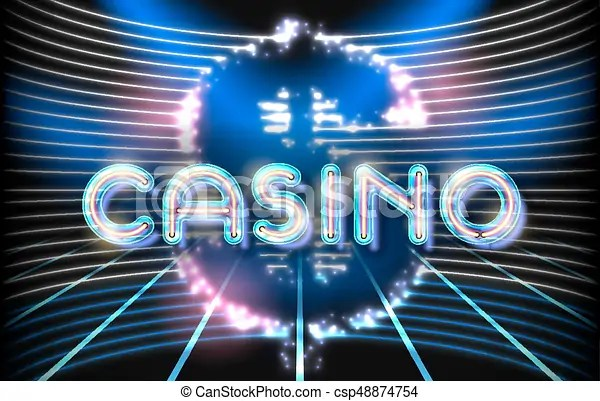 Jackpot casino neon lettering stage on background with clipart - neon lettering