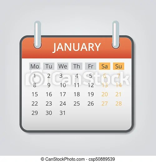 January 2018 calendar concept background, cartoon style January