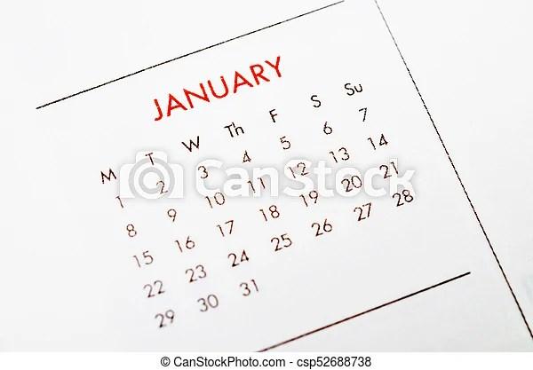 Close up january calendar page stock photos - Search Photographs - january calendar page