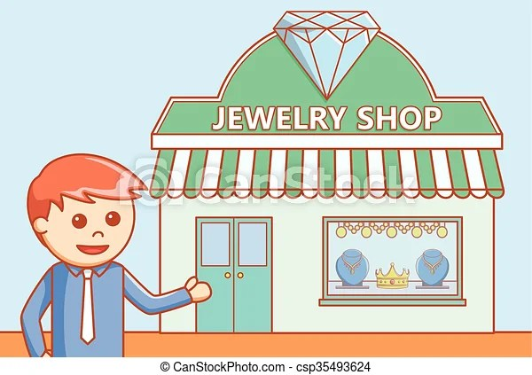 Jewelry Store Doodle Illustration