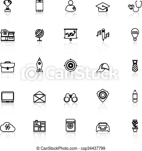 Job description line icons with reflect on white, stock eps - Stock Job Description