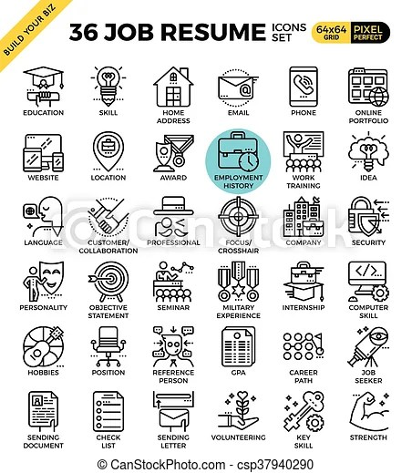 Job resume icons Job resume outline icons modern style for website