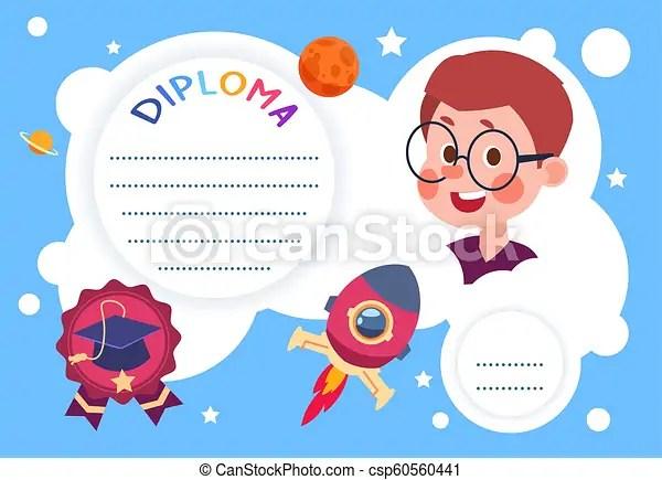 Kids certificate children education diploma kindergarten
