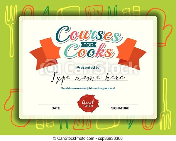 Kids cooking courses certificate template Kids cooking clip art - certificate template for kids