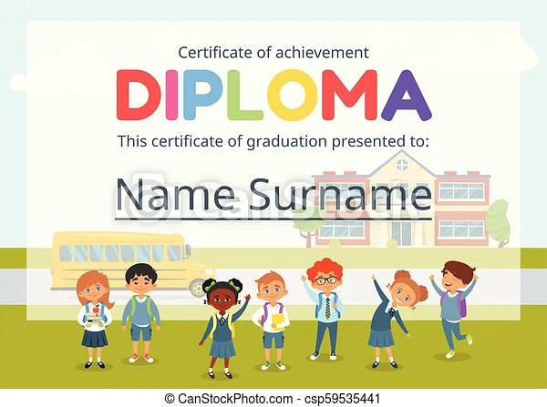 Kids diploma certificate for preschool Vector cartoon style