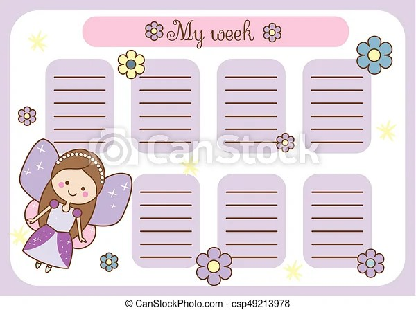 Kids timetable with cute fairy character weekly planner for - cute weekly homework planner template