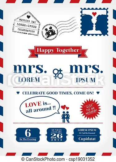 Lesbian wedding invitation template in postcard and air mail - postcard wedding invitations template free