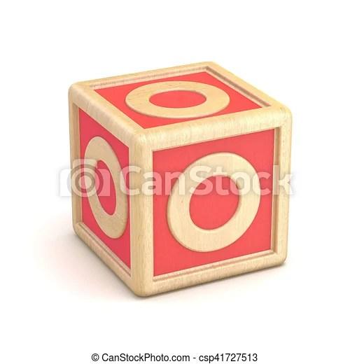 Letter o wooden alphabet blocks font rotated 3d render illustration