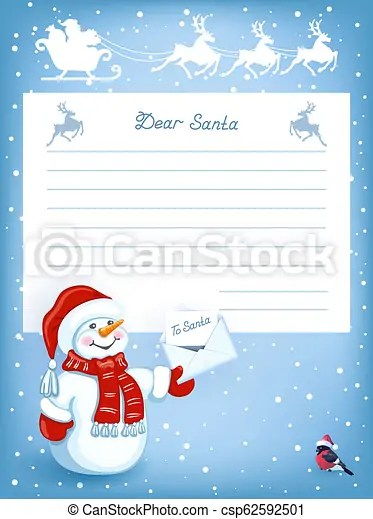Letter to santa claus with cartoon funny snowman with christmas