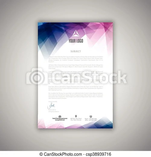 Letterhead template Layout design for a business letterhead