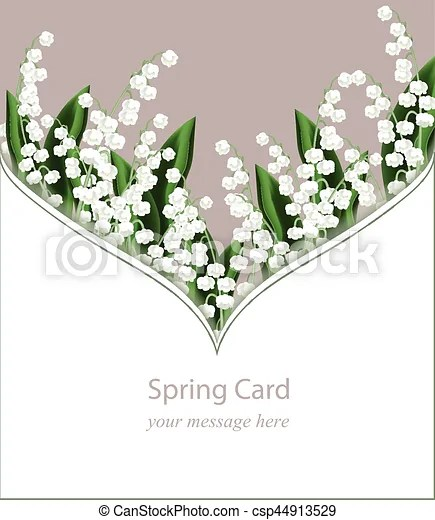 Lily of the valley delicate card frame for greeting cards, wedding